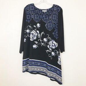 JM Collection Tunic Top Soft Knit Asymmetrical Hem